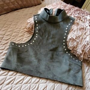 Olive green crop top with beads